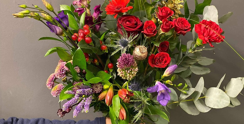 Red and Purple Christmas Bouquet