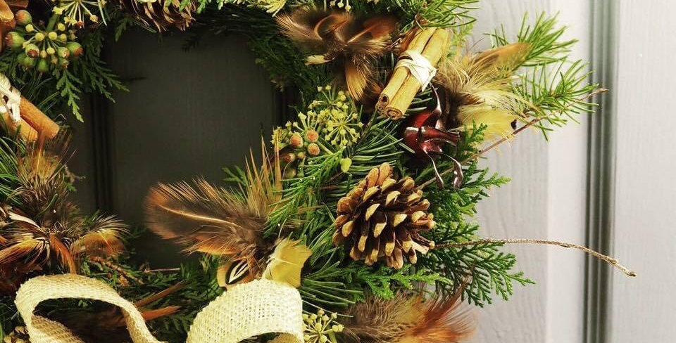 Wreath with Feathers and Hessian Bow