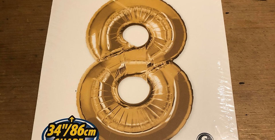 8 Large Number Helium Balloon (Gold)