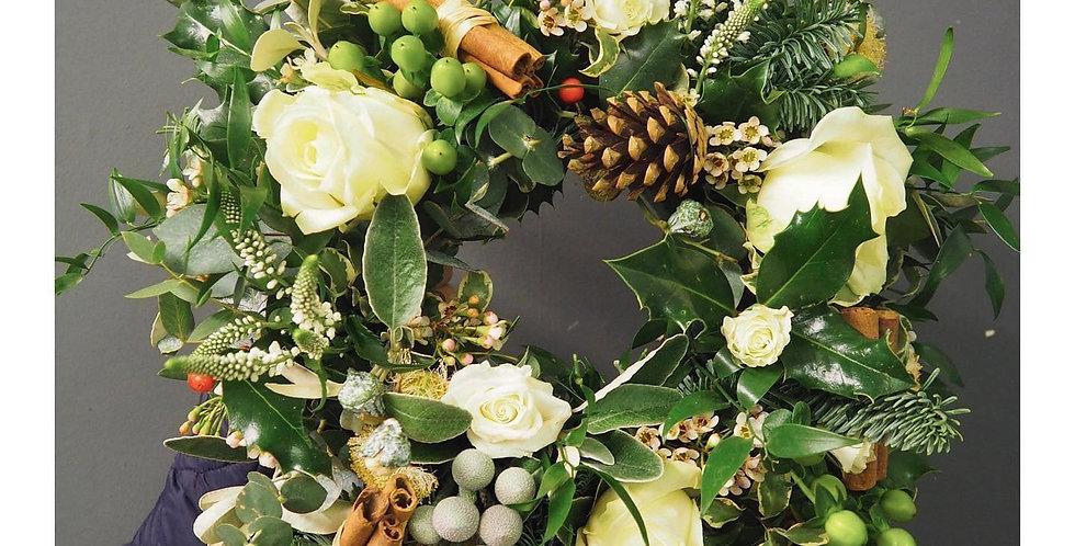 White Festive Sympathy Wreath