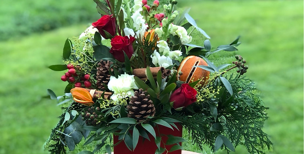 Red and White Christmas Arrangement