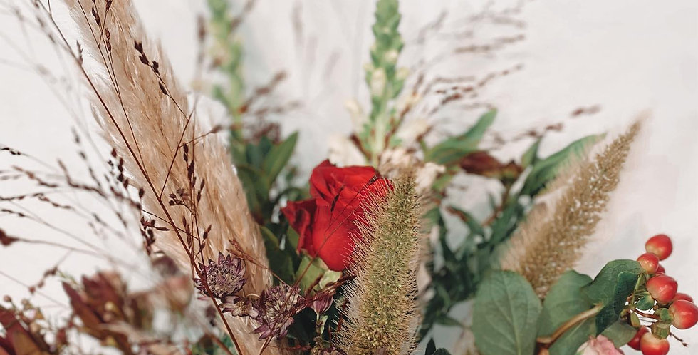 Red Bouquet with Pampas Grass