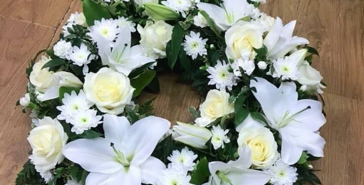 White Little And Rose Sympathy Wreath