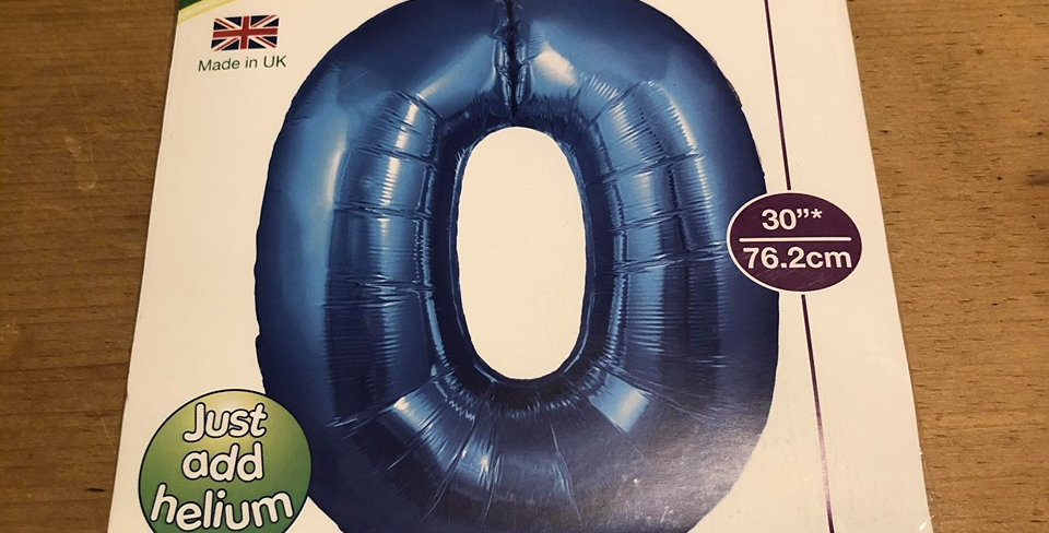 0 Large Number Helium Balloon (Blue)