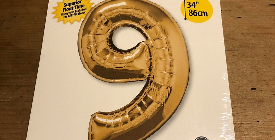 9 Large Number Helium Balloon (Gold)