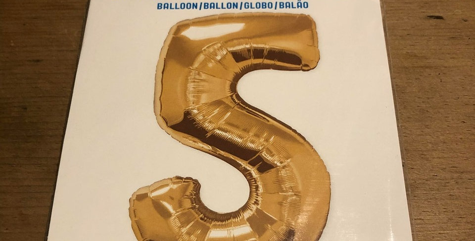 5 Large Number Helium Balloon (Gold)