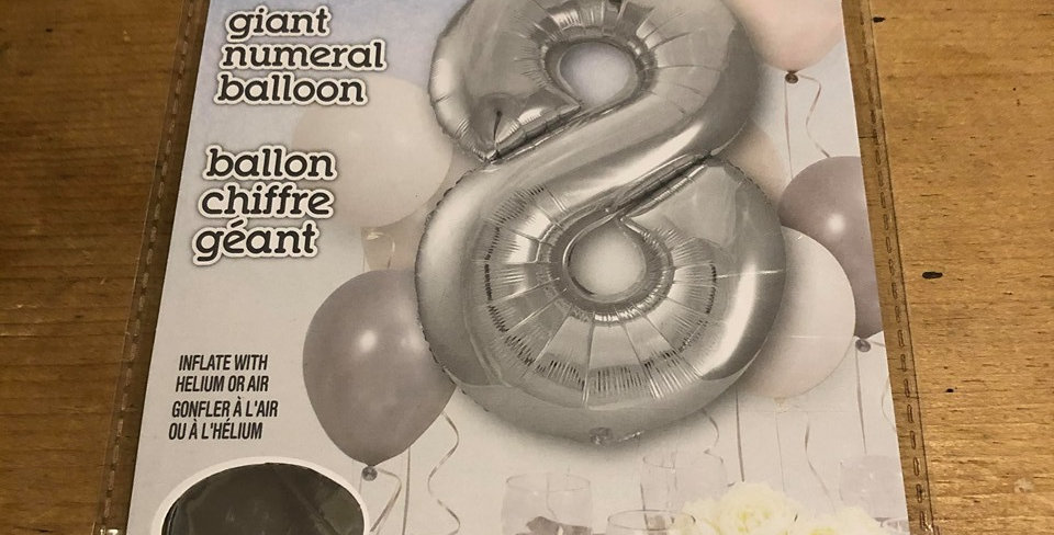 8 Large Number Helium Balloon (Silver)