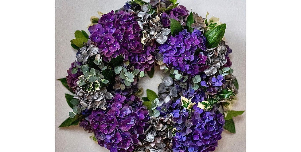 Purple Hydrangea Sympathy Wreath