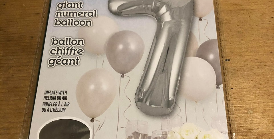 7 Large Number Helium Balloon (Silver)