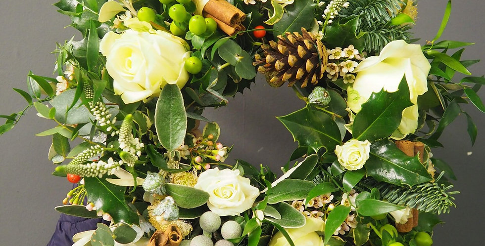 Small Rustic Wreath with White Roses