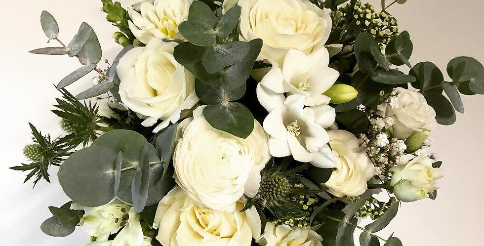 Compact White Rose & Fressia Posy