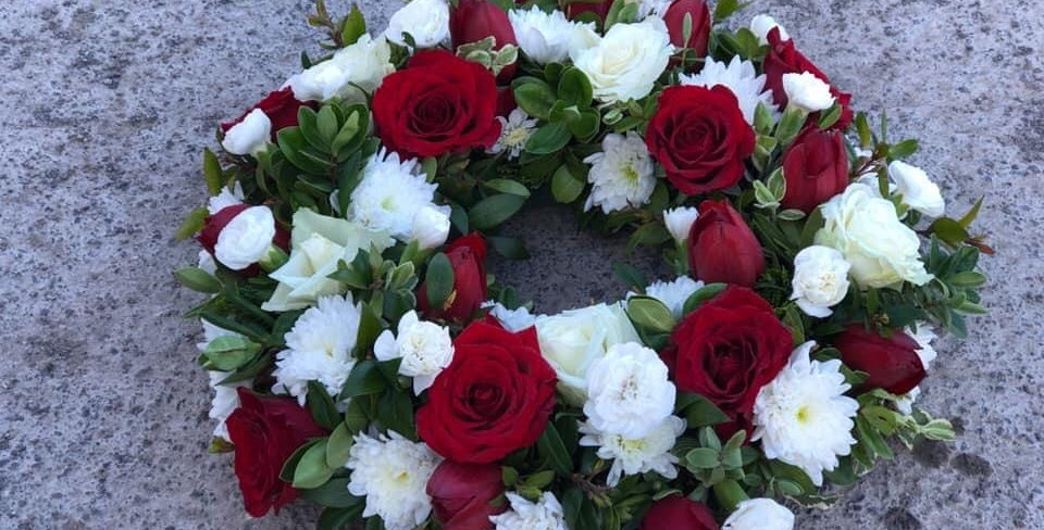 White And Red Rose Sympathy Wreath