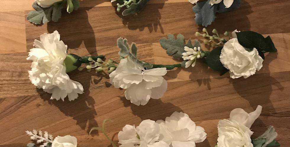 Small White Silk Flower Buttonhole