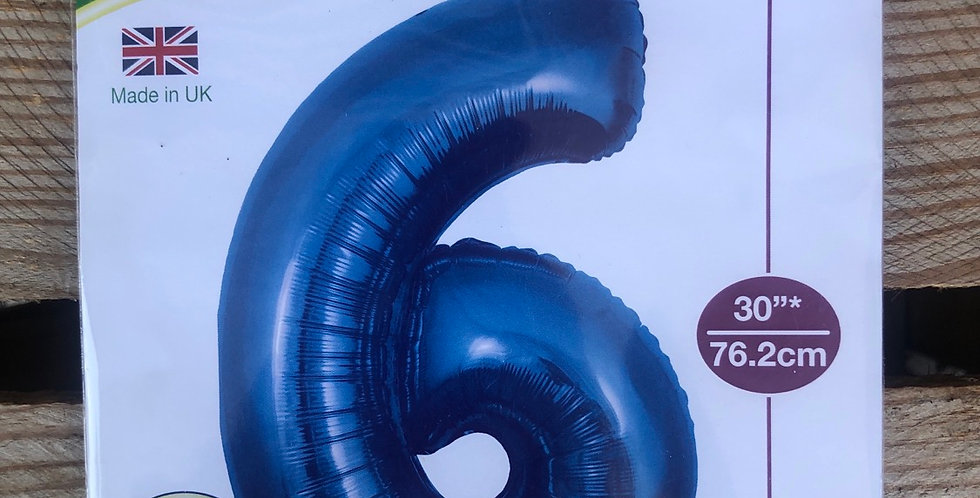6 Large Number Helium Balloon (Blue)