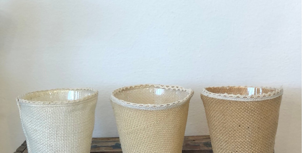 Hessian Small Pot