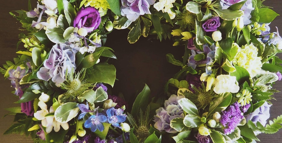 Purple, Yellow And Cream Sympathy Wreath
