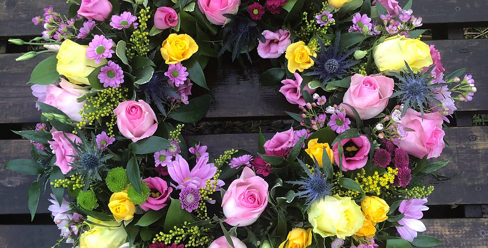 Pink And Yellow Sympathy Wreath