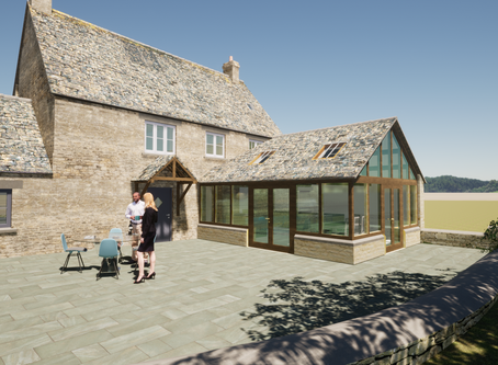 Very pleased to gain planning consent for this oak framed single storey extension near Malmesbury