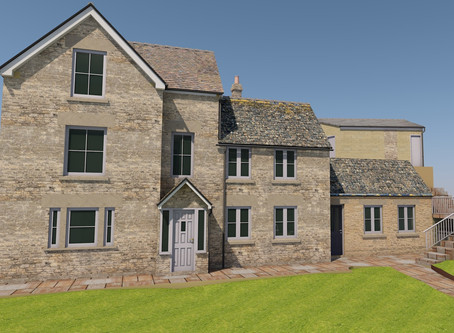 Gained consent for this single storey extension in the AONB near Stroud.