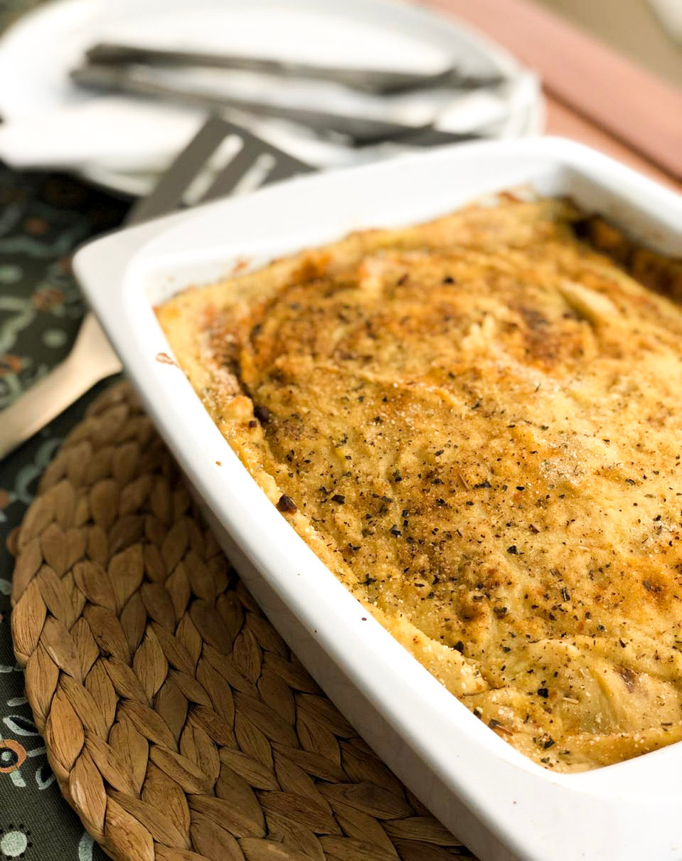 vegetable mousaka with commandaria