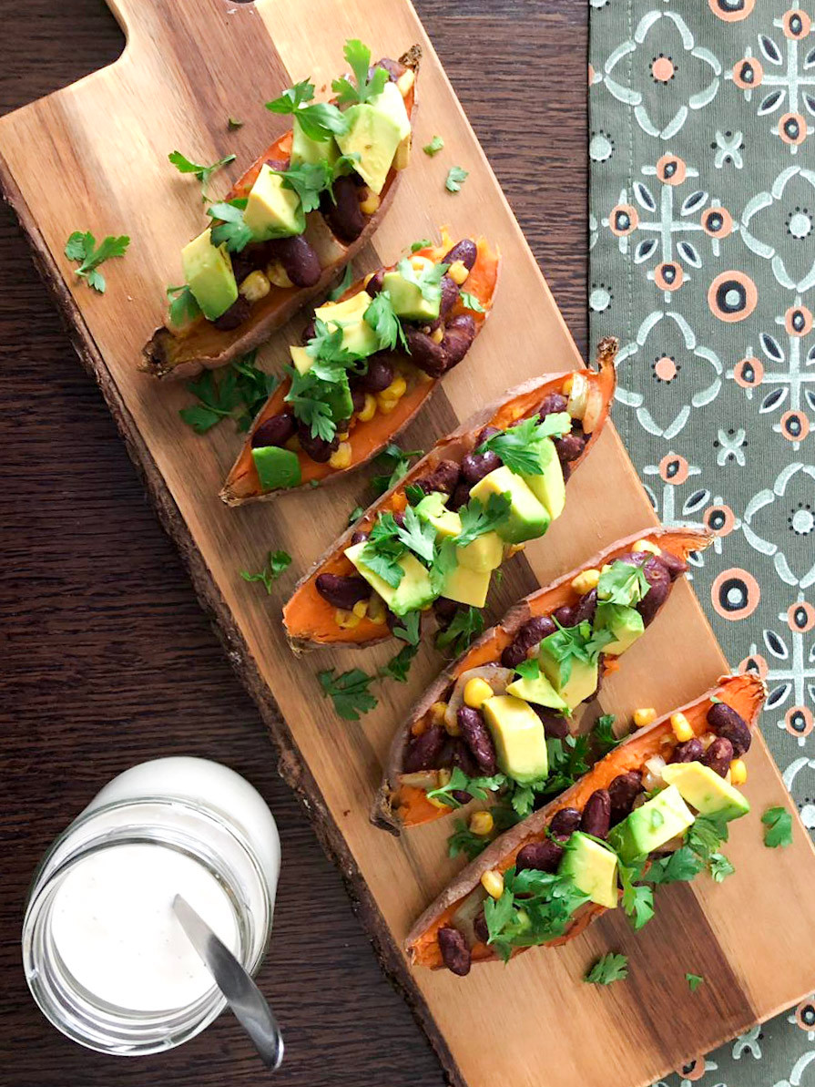 sweet potatoes stuffed with beans