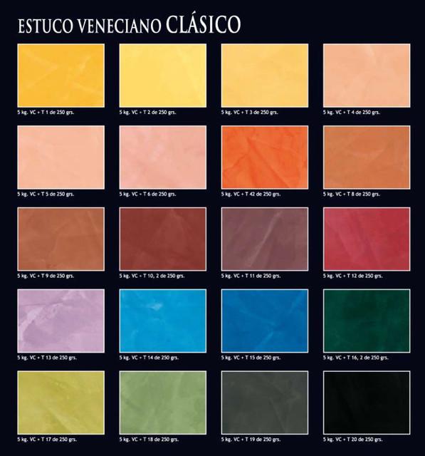 Venitian Plaster Colour Chart