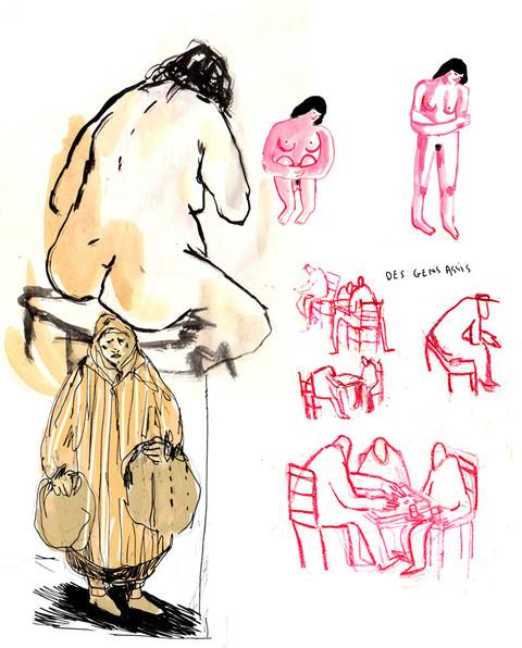 croquis personnage, crayon, aquarelle, p