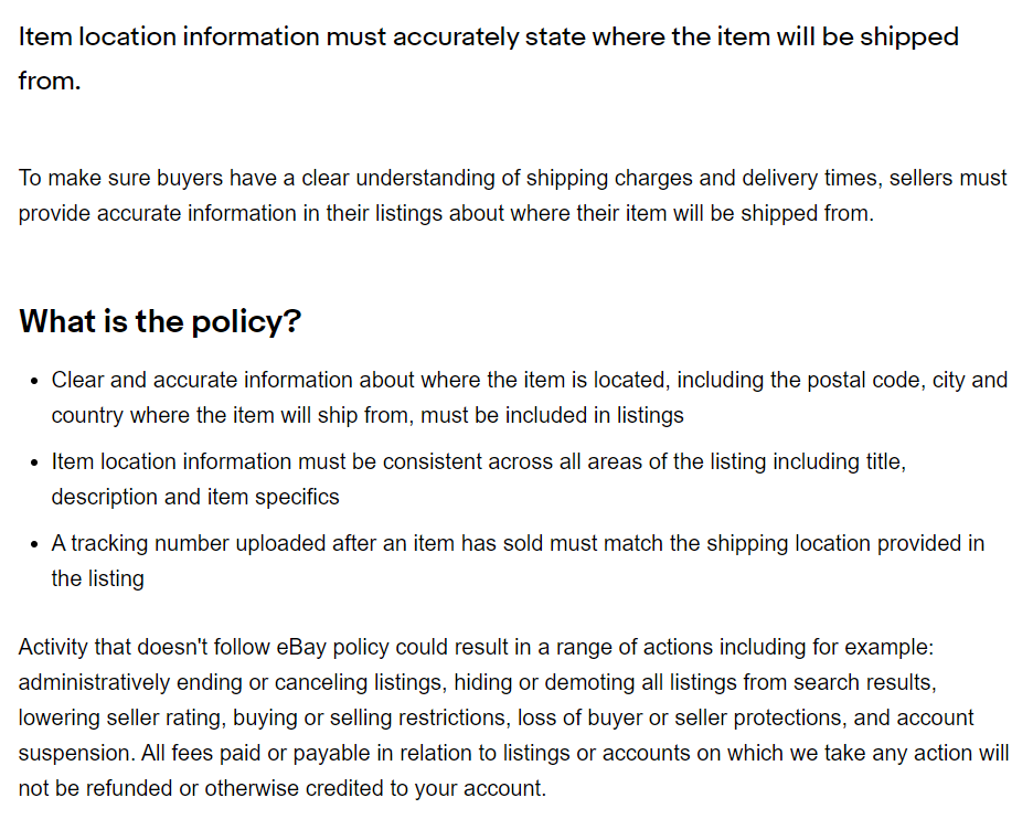 Ebay Item Location Policy Zip Code Update For Drop Shipping