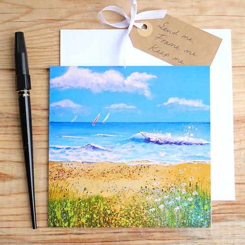 Breaking Waves gift card, blank inside for your message, for any occasion