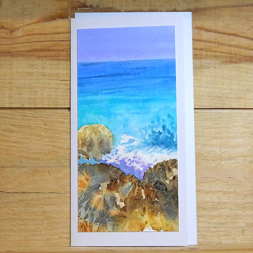 Hand painted original card -on the rocks