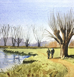 walk along the riverbank watercolour