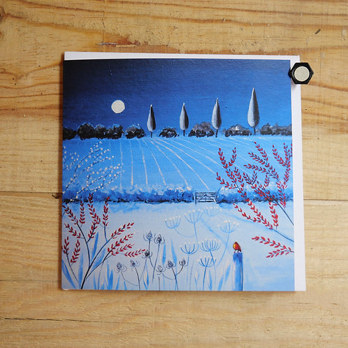 Moonlight over Granchester Meadows. Printed Cards 145mm sq with envelope & cello