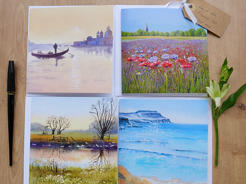 Landscape from around the World. Eight cards 2 of each design, for any occasion.