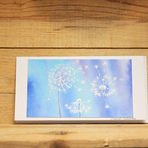 Hand painted original card -Dandelions