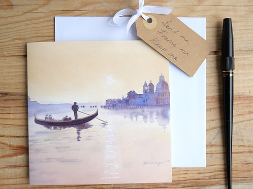 Venice sunset. Printed card