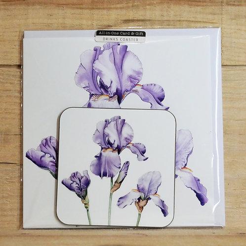 Trio of Irises coaster and gift card