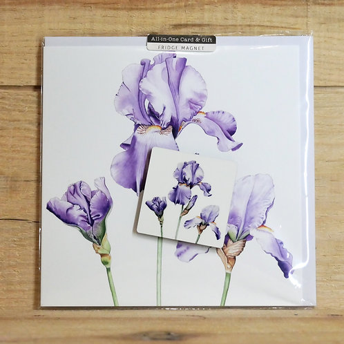 Trio of Irises keyring and gift card