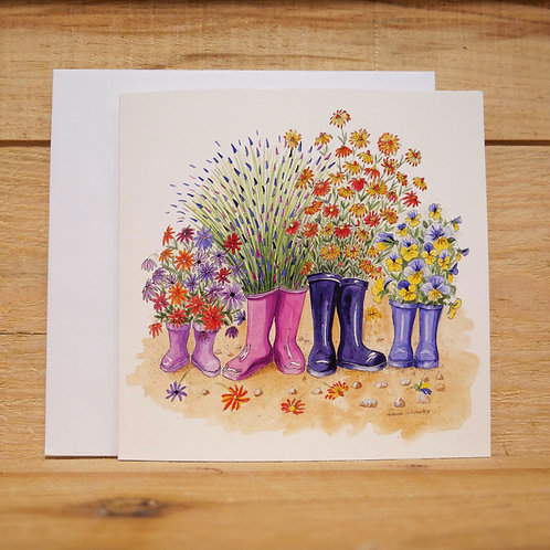 Family of Wellies.  Gift card