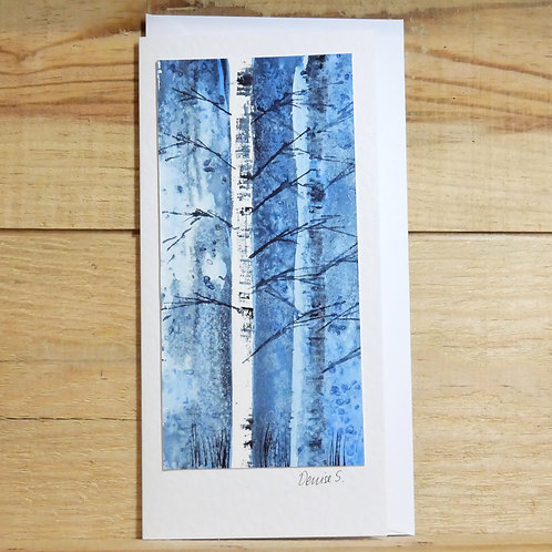 Hand painted original card -silver birch