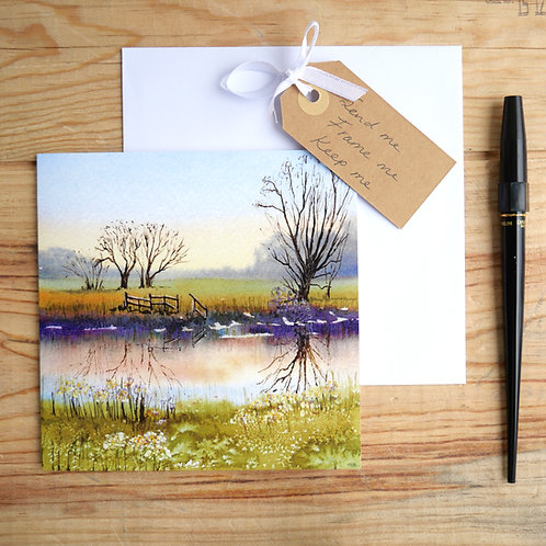 Sunset over Grantchester Meadows. Gift card