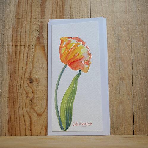 Hand painted original poppy card
