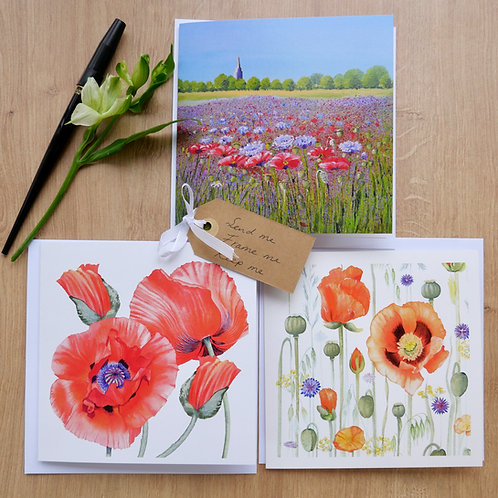 Mixed Poppy Collection 6 Cards. Any occasion, Thank you, Birthday, Easter