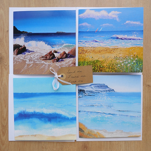 Coastal Landscape Wave Collection. Eight Cards Blank inside for any occasion.