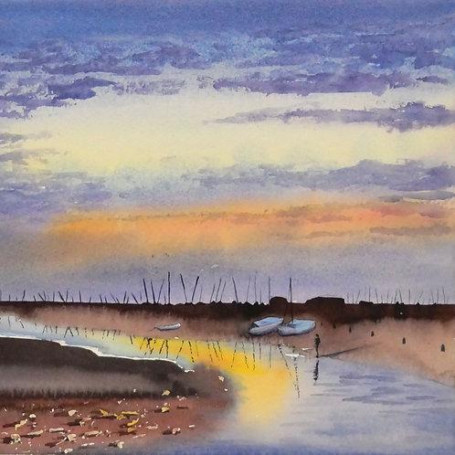Sunset at Blakeney Original Watercolour Painting