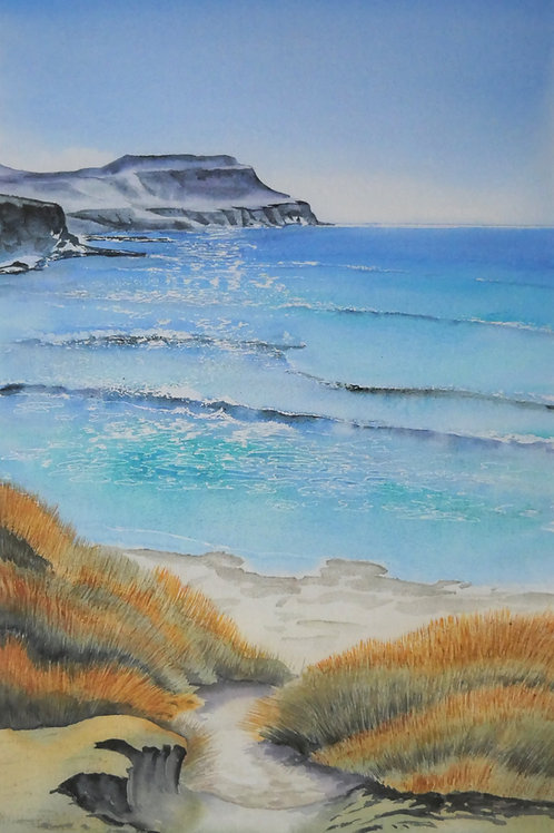 Ltd edition print of an original watercolour of Calgary Bay on the Isle of Mull