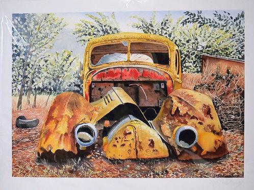 Ltd edition print of an original watercolour of a rusty car