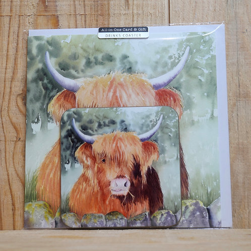 Highland cow 'Boris'. Coaster and  gift card
