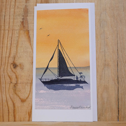 Hand painted original sailing at sunset card