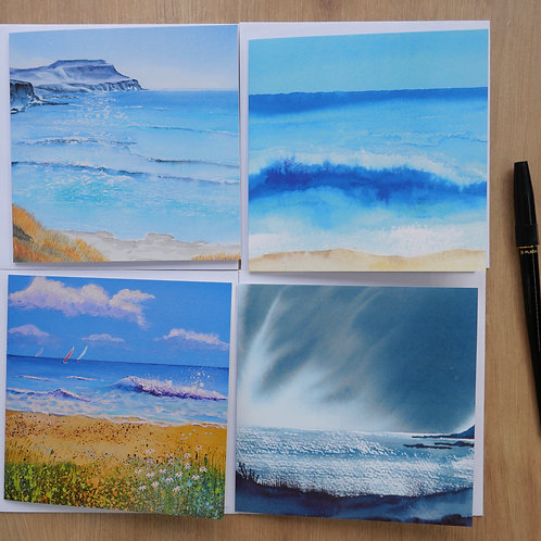 Wave Collection. Eight Cards Blank inside for any occa