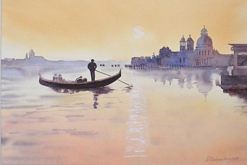 Sunset in Venice Original Watercolour Painting